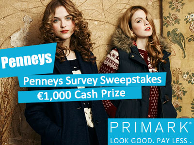 www.tellpenneys.ie, Take Penneys Survey Sweepstakes for €1,000 Cash