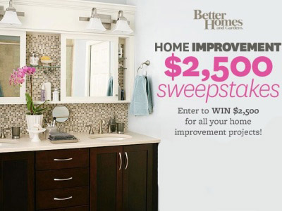 www.bhg.com, Enter BHG The Home Improvement $2,500 Sweepstakes