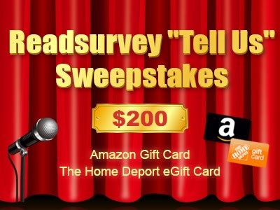 www.readsurvey.comtellus - Join ReadSurvey Tell Us Sweepstakes to Win $200 Gift Card